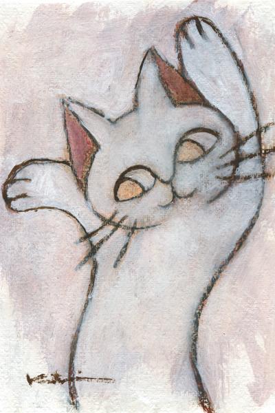 香月和夫さんがアクリル画の絵画で描いた猫の絵 ゆらゆら白猫 受注生産品 は 2015年12月に描かれた猫の絵です 作家名 作品名 香月和夫 爆売り