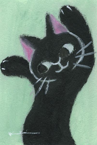 香月和夫さんがアクリル画の絵画で描いた猫の絵 ゆらゆら黒猫 は 激安通販専門店 2015年12月に描かれた猫の絵です 作家名 香月和夫 お気に入り 作品名