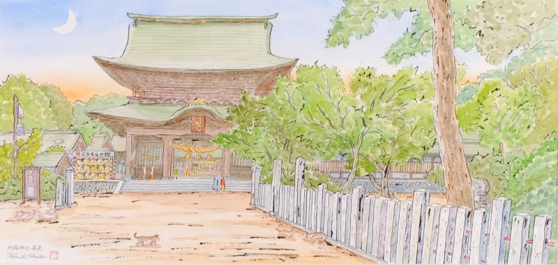 内藤謙一さんが水彩画の絵画で描いた絵 阿蘇神社 暮色 は2015年に描かれた水彩画の絵画です 作家名 作品名 通信販売 内藤謙一 信託