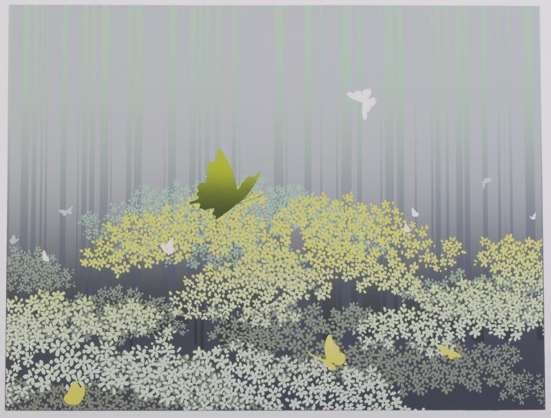 池上壮豊先生がシルクスクリーンの版画で制作した蝶の絵 舞-8 は 静かな森の中で蝶が舞うように飛んでいる神秘的な蝶の絵です お歳暮 現品 池上壮豊 作家名 作品名