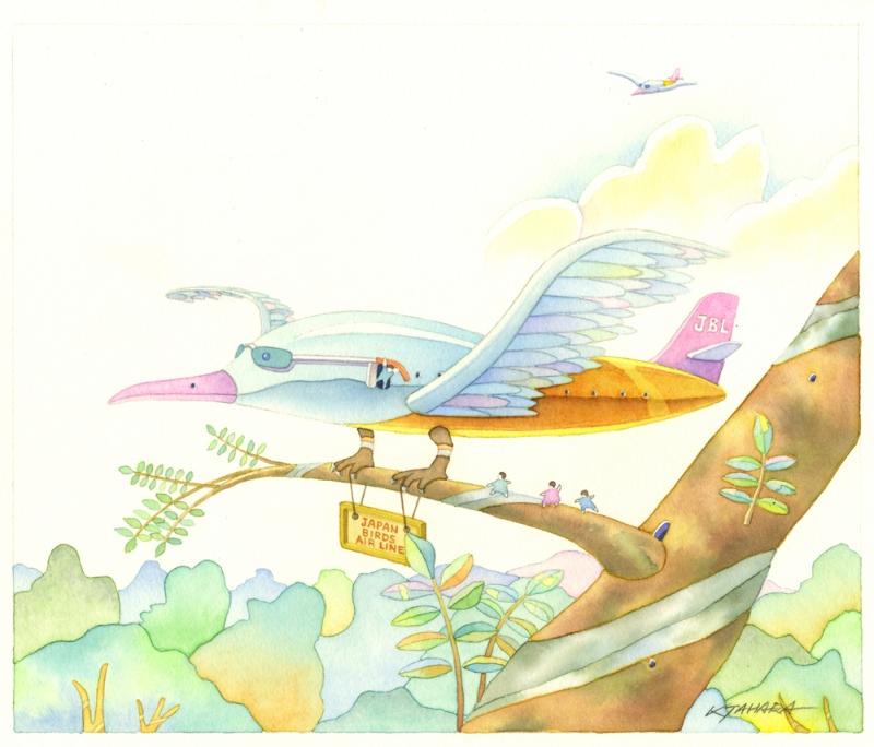 田原健二さんのイマジネーションの豊かさとユニークさを感じさせてくれる素晴らしい水彩画の絵画です 作家名 田原健二 新作製品 世界最高品質人気 作品名 BIRDS AIR LINE テレビで話題 JAPAN