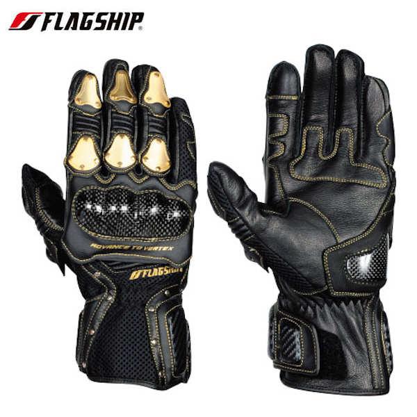 FG-S195G FLAG SHIP Vertex Metal Glove ブラック/ゴールド メッシュグローブ M~LLサイズ
