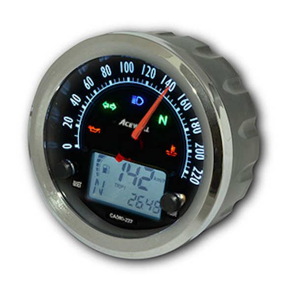 ACEWELL CA080-222B 多機能デジタルメーター スピードメーター 210Km/h ブラックパネル