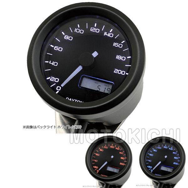 91683 デイトナ DAYTONA VELONA 電気式スピードメーター φ48 非接触センサー無し 200km/h ブラックボディ 3色LED