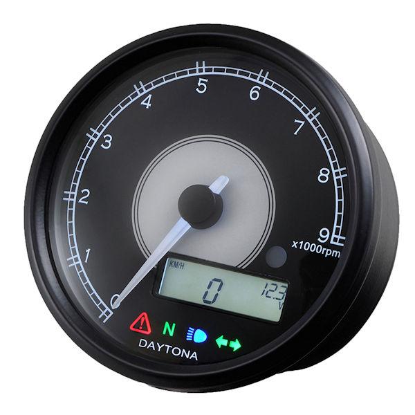 デイトナ DAYTONA 95955 VELONA 電気式タコ&スピードメーター φ80 9000rpm ステンレスボディ ホワイトLED 汎用