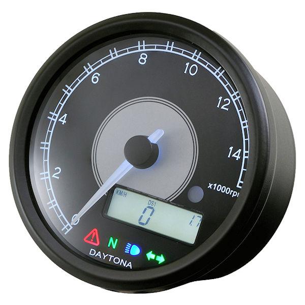 デイトナ DAYTONA 95956 VELONA 電気式タコ&スピードメーター φ80 15000rpm ステンレスボディ ホワイトLED 汎用