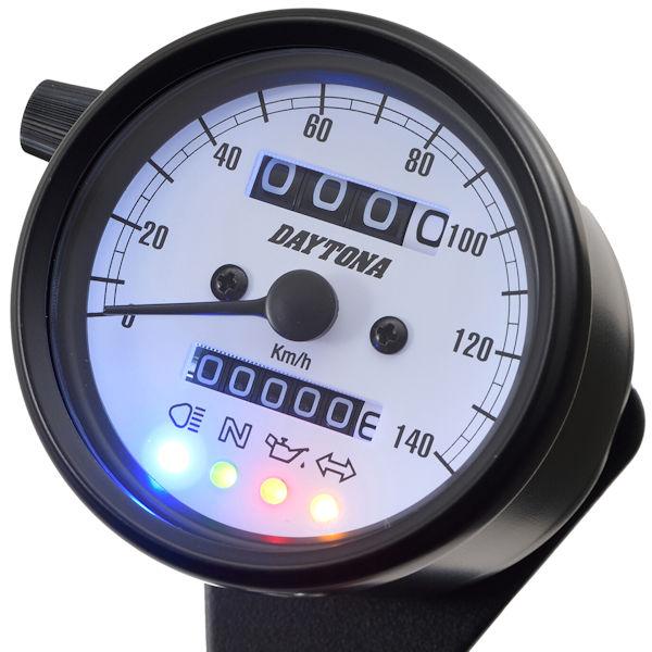 デイトナ DAYTONA 15628 機械式スピードメーター(インジケーター付き)φ60 ホワイトLED照明 140km/h ブラックボディ/ホワイトパネル