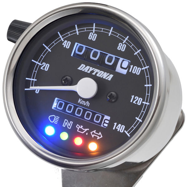 デイトナ DAYTONA 15637 機械式スピードメーター(インジケーター付き)φ60 ホワイトLED照明 140km/h ステンレスボディ/ブラックパネル