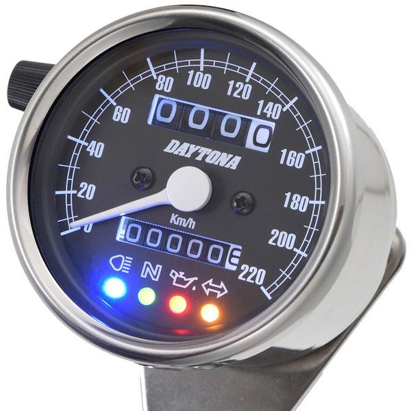 デイトナ DAYTONA 15638 機械式スピードメーター(インジケーター付き)φ60 ホワイトLED照明 220km/h ステンレスボディ/ブラックパネル
