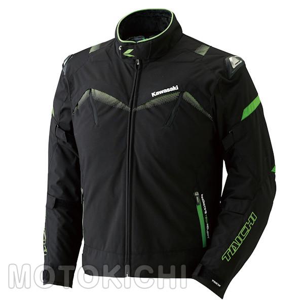 カワサキ アームドオールシーズンジャケット ブラック/グリーン J8001-2728 J8001-2729 J8001-2731 M~3Lサイズ Kawasaki×タイチ