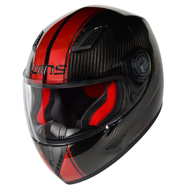 【入荷未定】WINS A-FORCE STRIPE レッド Mサイズ カーボンフルフェイスヘルメット カーボン × レッド