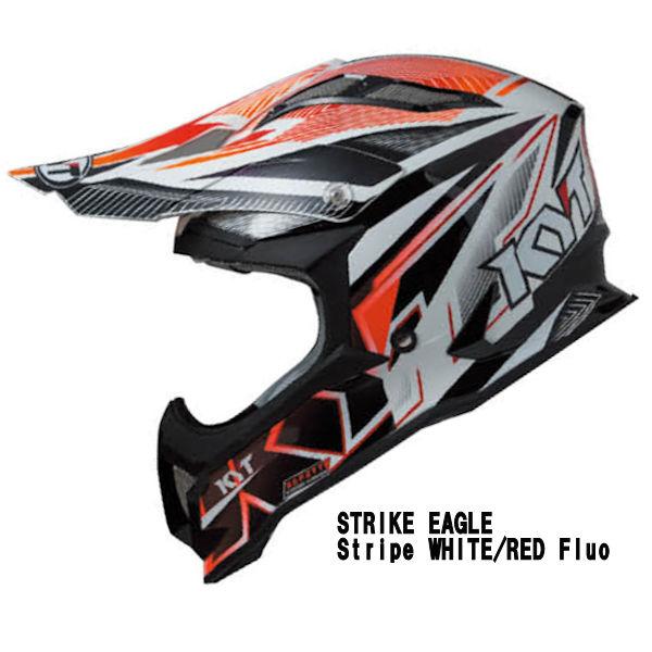 KYT STRIKE EAGLE STRIPR WHITE/RED モトクロスヘルメット ストライプ レッド フロー