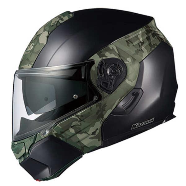 OGK KAZAMI CAMO フラットブラック/グリーン システムヘルメット カザミ カモフラ