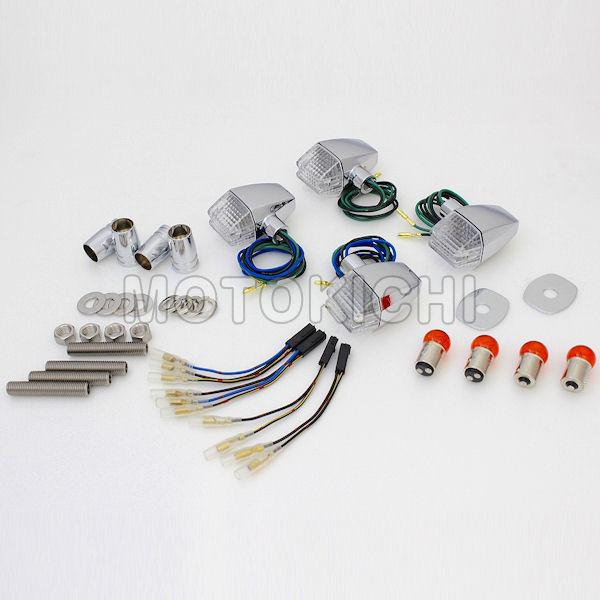 (POSH) ポッシュ 031647-53 車種専用 クラシカルスリム&シャープタイプウインカー 1台分セット メッキボディ/クリアレンズ ゼファー ZEPHYR750/RS('04-) ZRX400II('04-)