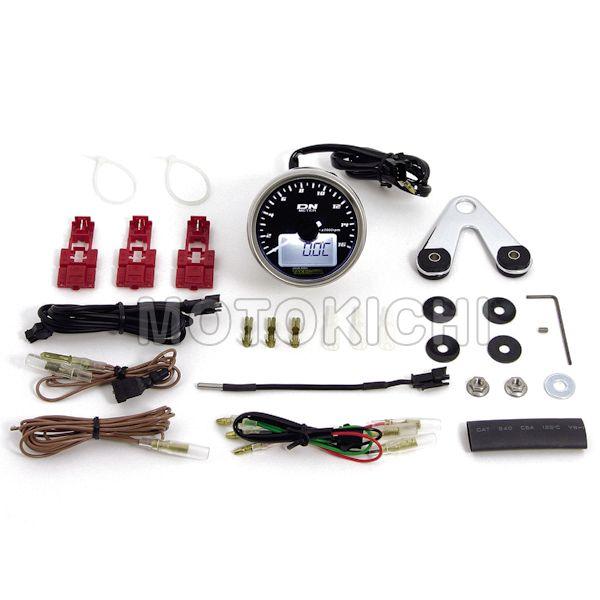 タケガワ TAKEGAWA 05-05-3210 ミディアムDNタコメーター(ホワイトLED) 温度計/電圧計/時計/タイマー機能内蔵