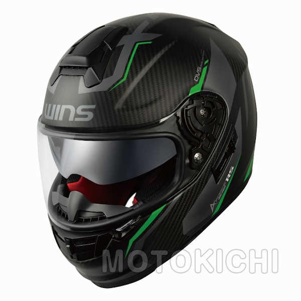 【入荷未定】WINS A-FORCE RS FLASH フラッシュ ネオングリーン グラフィックモデル インナーシード付き カーボン フルフェイスヘルメット