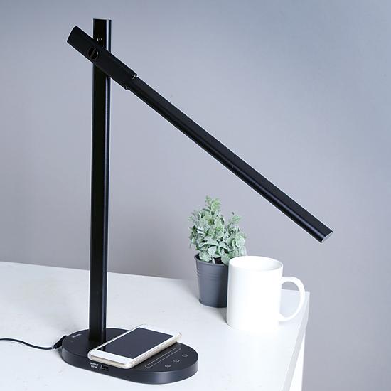 デスクスタンド ワイヤレスチャージ機能付き黒 GS1706B MotoM LEDツインリフラクションランプ led デスクライト 卓上ライト 電気スタンド 書斎 読書灯 おしゃれ スタイリッシュ シンプル ブラック 調光 調色