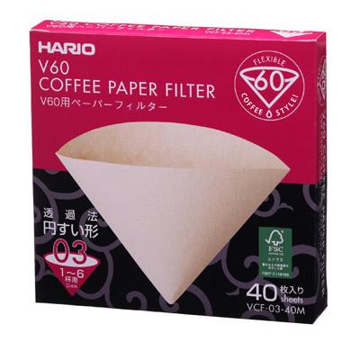 ハリオV60ペーパーフィルター03M|1~6杯用|40枚入 VCF-03-40M|V60透過ドリッパー03クリア用|HARIO|hario|コーヒーフィルター|フィルターペーパー|vcf-03-40m|無漂白|みさらし|4977642723269