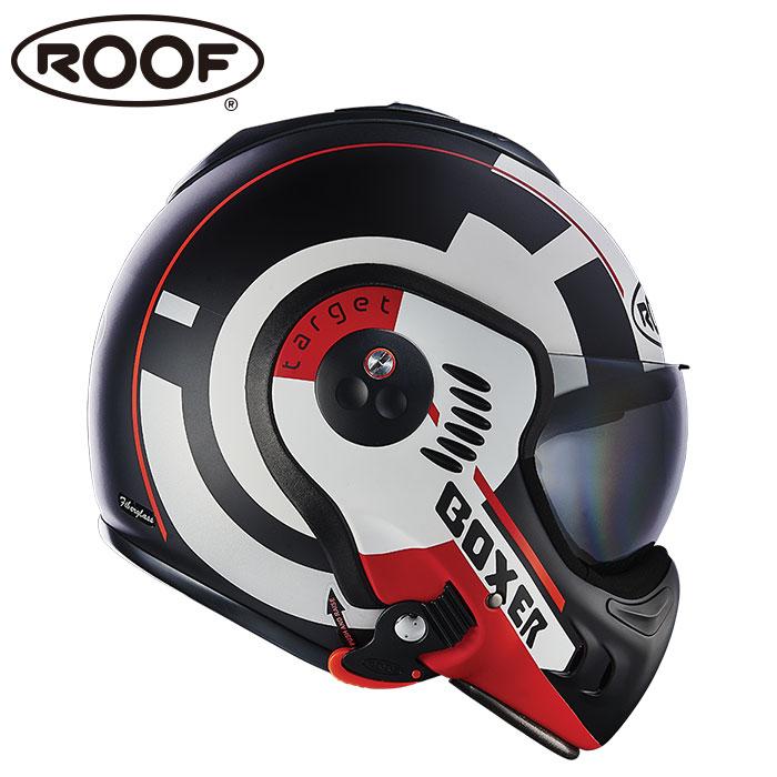 【ルーフ/ROOF】BOXER V8 TARGET ボクサー ターゲット ホワイト×ブラック×マットレッド システムヘルメット バイク【プレゼント ギフト】