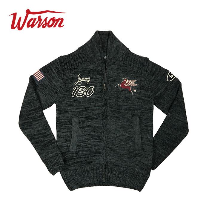 【ワーソンモータース/Warson Motors】 KNIT TRACK JACKET カーボン メンズ ニット ジップアップ トラック ジャケット カーディガン ジェームス・ディーン オマージュ