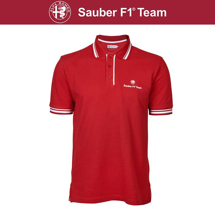 【アルファ ロメオ ザウバー/Alfa Romeo Sauber】 チーム ポロシャツ メンズ レッド F1 グッズ