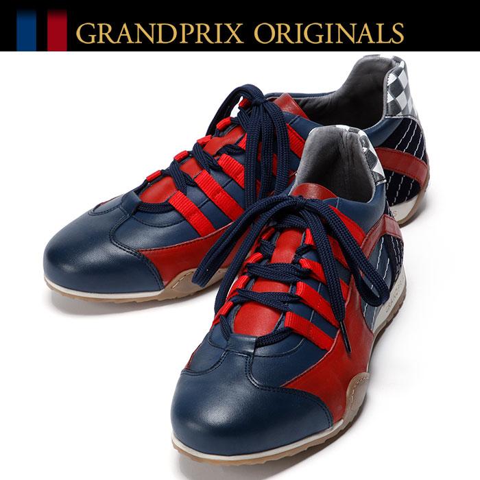 【グランプリ オリジナル/GRANDPRIX ORIGINALS】GPO Racing Sneaker Red & Navy スニーカー ネイビー×レッドドライビングシューズ ハンドメイド