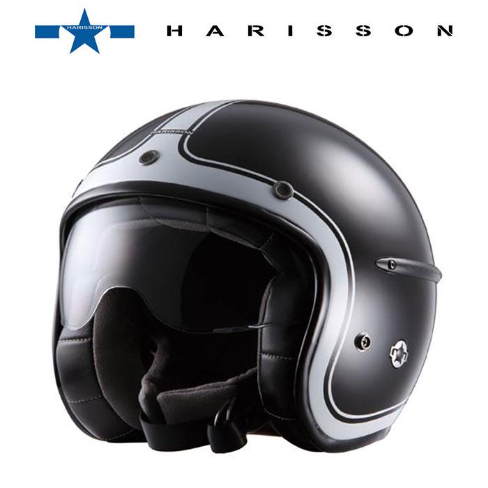 【ハリソン/HARISSON】 CORSAIR BRILLANT(コルセア ブリラント) シャイニーブラック×ホワイト ジェットヘルメット【5】【OT】