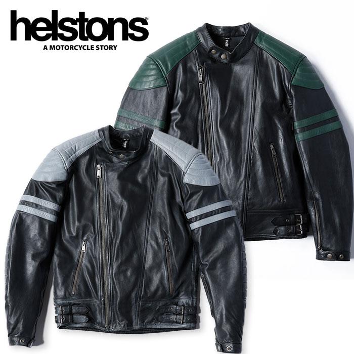 【ヘルストン/helstons】フラッシュ ブラック×グレー メンズ FLASH バイク アウター ライダース レザー ジャケット【3】【OT】