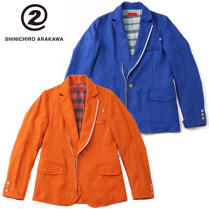 シンイチロウ アラカワ SHINICHIRO ARAKAWA麻ジャケット ブルー テーラード ブルゾン 2way メンズ バイク アウター