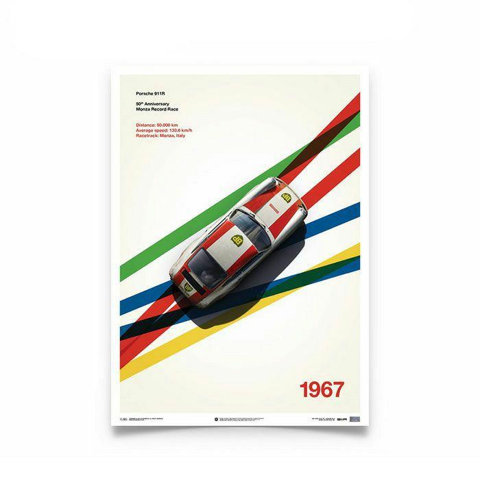 【ユニーク&リミテッド ギャラリー/Unique & Limited Gallery】ポルシェ 911R BP Racing 1967 モンツァ スピードトライアル ポスター PORSCHE ポルシェ 911R モンツァ スピードトライアル 901 レンシュポルト レース ポスター