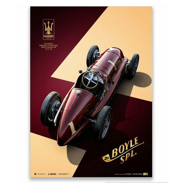 予約/受注発注【ユニーク&リミテッド ギャラリー/Unique & Limited Gallery】Maserati 8CTF The Boyle Special 1940年 インディアナポリス 500マイル レース コレクターズ エディション ポスター 世界限定250枚