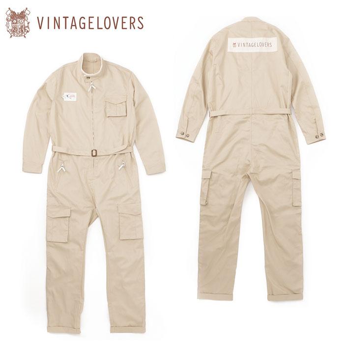 【ヴィンテージラバーズ/VINTAGELOVERS】ジャンプスーツ ベージュ ツナギ オールインワン 日本製