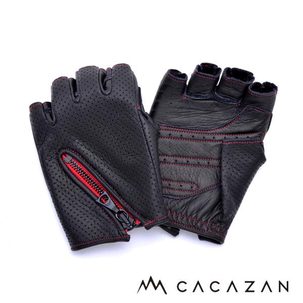 【送料無料】カカザン ドライビンググローブ CACAZAN DDR-050 ブラック レッドステッチ
