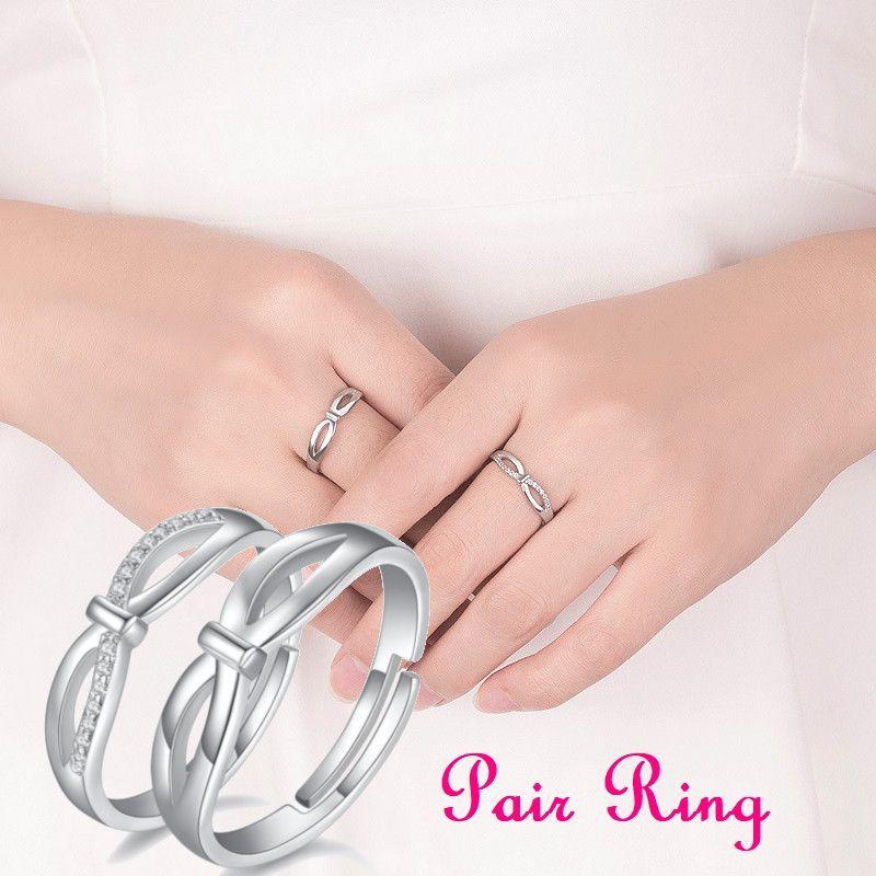 ジュエリー 腕時計 ペアアクセサリー 売れ筋 指輪 リング その他 送料無料 ペアリング クロス シルバーカラー ラインストーン メンズ レディース 選択 リボン サイズ調整可 アクセサリー
