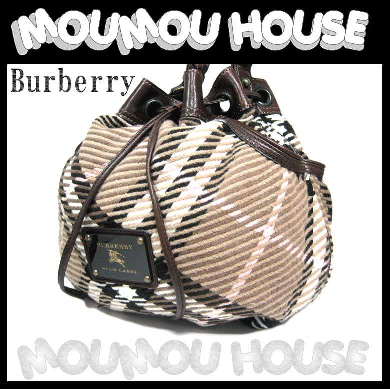 202f2a6285a1 Burberry □ Burberry □ blue label □ cotton check X brown leather □  drawstring purse type shoulder bag □ beauty product ♪ Lady s  A-D   used