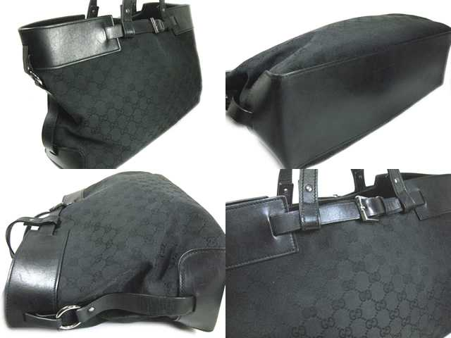 GUCCI TOTE Gucci back GG ♦ GG canvas / leather ♦ black ♦ 106251-214397 ♦ ladies! 05P19Dec15