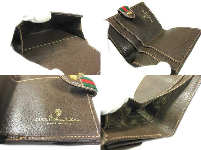 c033a721d9c GUCCI Gucci 2 fold wallet GG old Gucci □ PVC x Leather □ Brown x beige □ 904 -03-106 □ unisex ♪ purse wallet a wallet