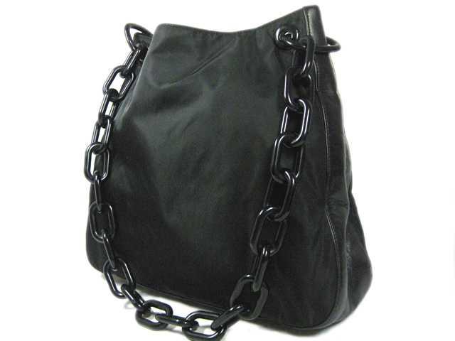 PRADA bags Prada back □ chain motif □ plastic chain □ nylon shoulder bag x  leather x plastic □ black □ ladies ♪ 05P27Jun14