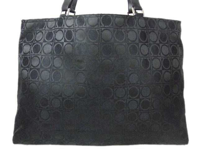 cbced543b1d9 Salvatore Ferragamo □ Ferragamo □ gancini □ tote bag canvas x leather □  black □ AU-21-0867 □ ladies ♪ back 10P01Jun14