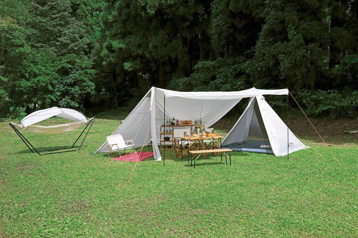 送料無料(北海道・沖縄・離島以外) キャプテンスタッグ(CAPTAIN STAG)テント タープ キャンプベース 4~5人用 【サイズ680×380×H220cm】 UV・PU加工 キャリーバッグ付き CSクラシックス UA-39