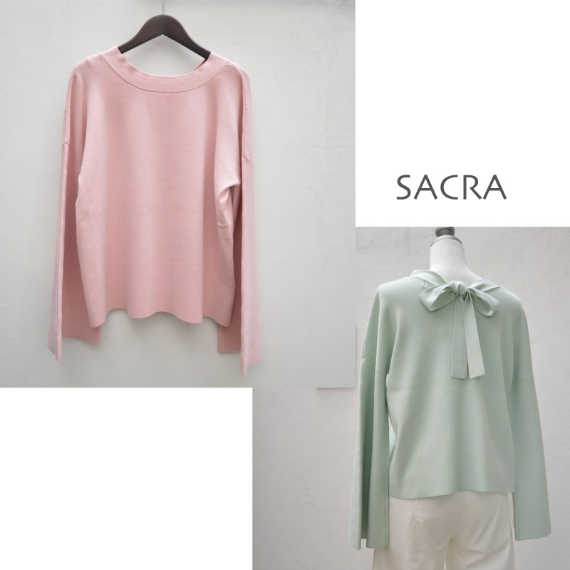 【50%OFFセール】SACRA(サクラ) バックリボンフレアスリーブニット 117632012