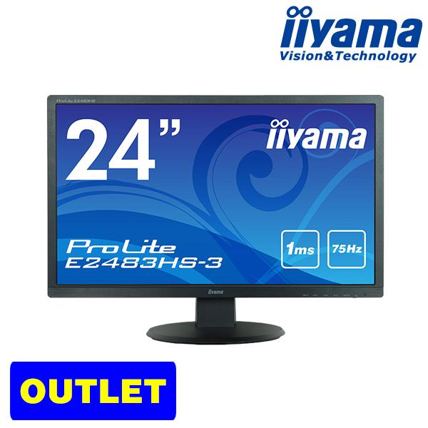 液晶ディスプレイ iiyama ProLite E2483HS-3 24型 フルHD 1920×1080 ワイド 応答速度1ms(GtoG) ブルーライトカット <アウトレット>