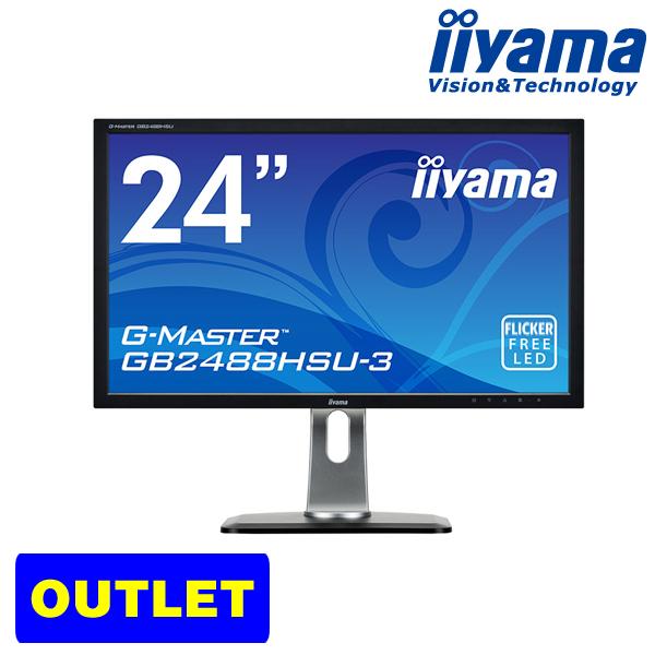 【エントリーでポイント7倍♪7/21 20時~】iiyama ProLite GB2488HSU-B3 24型 液晶ディスプレイ ゲーミング モニター1920×1080 フルHD フリッカフリーLED ブルーライトカット HDCP対応 応答速度1ms(GtoG) <アウトレット>