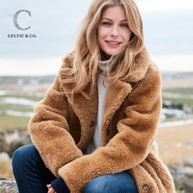CELTIC ムートン コート リバーシブル コクーン テディ コート 英国製 レディース もこもこ Reversible Cocoon Teddy Coat