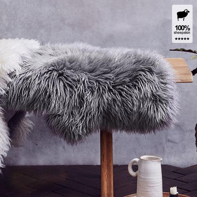YETI イエティ ムートンラグ 93×54cm 1匹サイズ オーストラリア産 全2色 ロングヘア 長毛 クリンプ グレー アイボリー