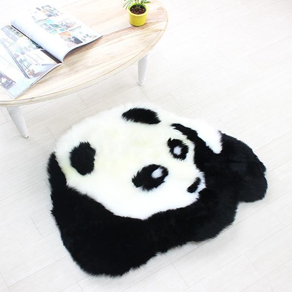 ムートンラグ 「パンダ」 約65cm×80cm ミニラグ マット