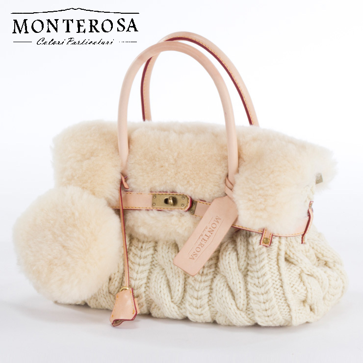 [送料無料]【日本製】モンテローザ muku ムートンバッグ ハンドバッグ No.693 アイボリー【MONTEROSA ムク】《ギフト対応OK》