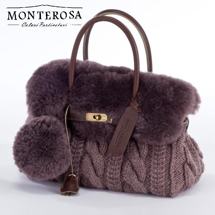 [送料無料]【日本製】モンテローザ muku ムートンバッグ ハンドバッグ No.693 モーブカーキ【MONTEROSA ムク ムートン バッグ】《ギフト対応OK》