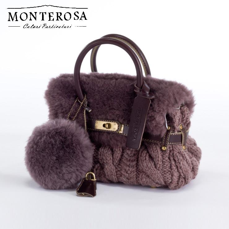 [送料無料]【日本製】モンテローザ muku ムートンバッグ ハンドバッグ No.694 モーブカーキ【MONTEROSA ムク ムートン バッグ】《ギフト対応OK》