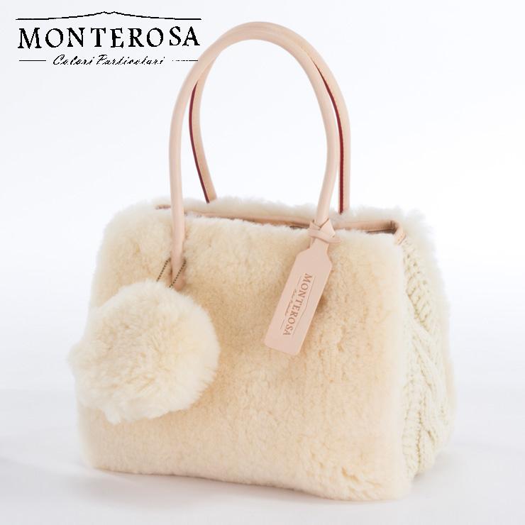 [送料無料]【日本製】モンテローザ muku ムートンバッグ ハンドバッグ No.695 アイボリー【MONTEROSA ムク ムートン バッグ】《ギフト対応OK》